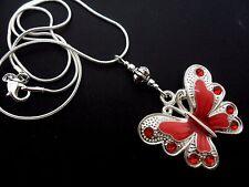 Un Plata Tibetana Rojo/Rosa Mariposa temática COLLAR. nuevo.