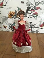 RubeBee Handmade Barbie Doll Christmas Velvet Victorian Dress Collector Item