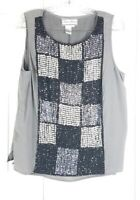 DIANE GILMAN womens size L gray black sequined 100% silk sleeveless blouse top