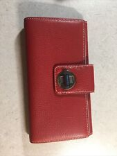 Tiffany & Co Large Red and Tiffany Blue turnlock Leather Wallet