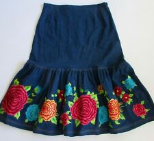"ROJA  Embroidered Floral  Fiesta Mexicali Flamenco ""OTOMI"" Long Denim Skirt XL"