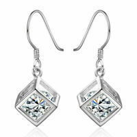 925 Sterling Silber Strass Ohrringe Ohrschmuck Kristall Ohrhänger für Damen T7O9