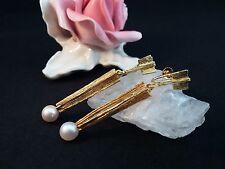 Ohrringen Hänger GelbGold 585 14 k 6,9 Gr. Perle 7 mm Durchmesser