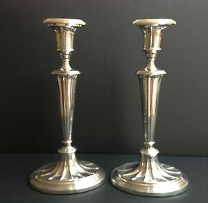 PAIR OF TALL 31cm ANTIQUE STERLING SILVER ENGLISH CANDLESTICKS 1930
