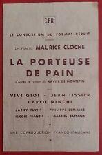 Plaquette LA PORTEUSE DE PAIN Maurice Cloche VIVI GIOI Jean Tissier *