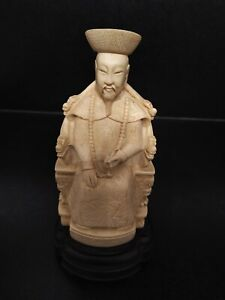 STATUETTE EMPEREUR CHINOIS RESINE IVOIRE