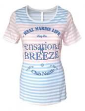 SHEEGO Damen Shirt maritim Streifen weiß rose hellblau GR. 44 46 NEU - 099