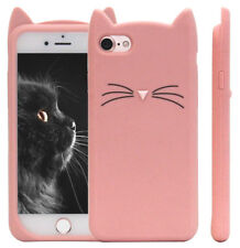 iPhone SE / 5 5S - Soft Silicone Rubber Skin Case Cover Pink Cat Kitty Whiskers