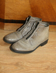 Quirky AS98 zipped grey leather ankle boots - very All Saints EU39 UK 6 - 6.5