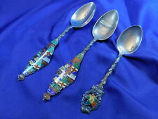 New listing Lot Of 3 Canadian Enameled Sterling Silver Souvenir Teaspoons - Very Good Cond
