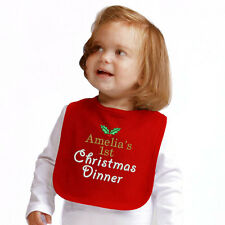 Personalised 'First Christmas Dinner' Bib embroidered with your child's name