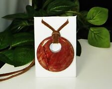 Large 50mm Genuine Muddled Paint Jasper Suede Leather Adjustable Necklace #A-24