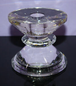 """24% Lead Crystal Candle Holder ~ 3.5"""" H 4"""" W ~ Candlestick or Pillar ~ SPARKLES"""