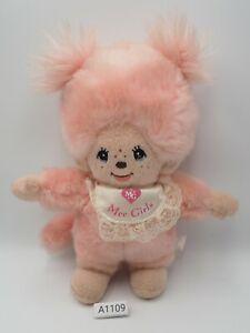 "Monchhichi A1109 Mee Girls Pink Plush 8"" Sekiguchi Stuffed Toy Doll Japan"