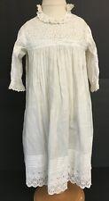 Vintage Off White Cotton Girls Victorian Dress Gown w/ Tucks Eyelet Flowers