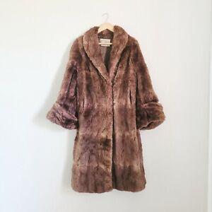 Vintage full length Real coney rabbit fur coat jacket L