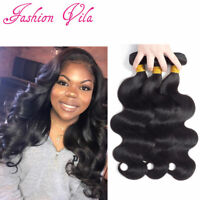 10A Brazilian Virgin Human Hair Extensions Weave Bundles Body Wave Nature Black