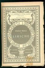 ROLLI PAOLO LIRICHE UTET 1926 CLASSICI ITALIANI 51 POESIA