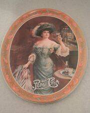 Retro Pepsi Cola Gibson Girl Oval Serving Platter Tin Tray Deco Dish Art Nouveau