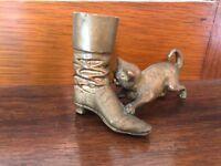 Victorian Era Bronze/Brass -Puss N Boots  Theme Casting -Wooden  Match Holder