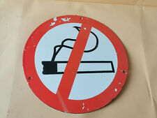"OLD VINTAGE COLLECTIBLE ENAMEL TIN ROUND PLATE SIGN ""NO SMOKING"" 1940 COMUNIST"