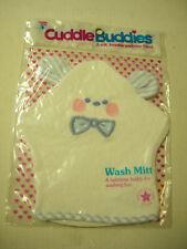 Baby Wash Mitten By Cuddle Buddies, Bear Design, White With Blue Trim, Brand New