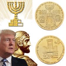 Donald Trump Gold Plated Coin King Cyrus  Jewish Temple Jerusalem Israel 2018