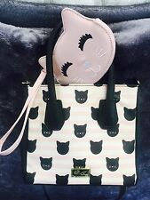 NEW! Betsey Johnson Pink Black Cat Satchel Crossbody Bag & Kitty Coin Purse SET