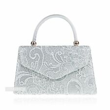 New Stylish Silver Lace Floral Wedding Ladies Party Prom Evening Clutch Hand Bag