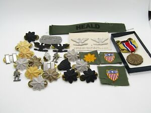 Vietnam War Army Colonel Insignia Set, Named Medal, Dog Tag, Patches Large Lot