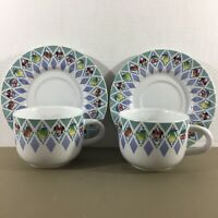 Lot of 2 Sets Vtg Disney Cups & Saucers Blue Diamond Pattern Minnie Mouse Fruit