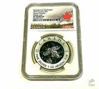 🇨🇦2019 $5 CANADA 1OZ NGC PF70 SILVER MAPLE LEAF VICTORIA BLUE RHODIUM REV PF🍁