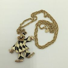 Vintage Park Lane Clown Necklace Gold Tone Chain Enamel Black White