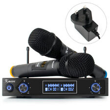 More details for kmise uhf wireless microphone system dual channel cordless handheld mic set