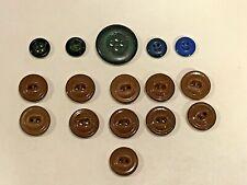 Lot of 16 Antique/Vintage China Buttons Solid Colors Brown Blue Black 1 Set