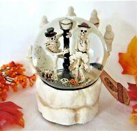 Halloween Music Box Dancing Skeletons Hand Holding Water Globe Bride Groom -FLAW