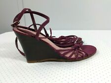 GAP Women's Wedge Ankle Strap Sandals Size 7 Purple Suede Leather Shoes