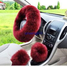 Wine red Long Warm Steering Wheel Cover Purple Woolen Handbrake Car Accessory