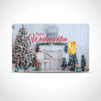 Gold Geschenkkarte / Geschenkidee / 1 Gr. Barren / Weihnachten, Kamin