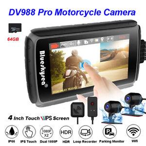 DV988 Pro Motorcycle Dash Cam Camera Camcorder DVR GPS Wifi Loop Recording 64GB