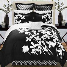 Iris Black & White 7 Piece Comforter Bed In A Bag Set