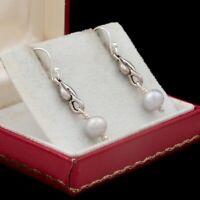Antique Vintage Art Deco Style Sterling Silver Tahitian Pearl Dangle Earrings