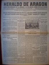 PERIÓDICO GUERRA CIVIL 3 SEPTIEMBRE 1937 TOMA DE TUDES Y DOSES EN SANTANDER