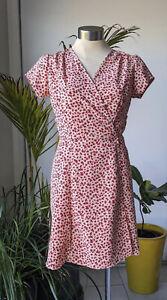 Red Beige Black Short Summer Floral Wrap Dress S Best Fit 8 - 10 Breastfeeding F
