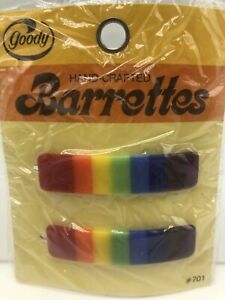 Vintage 1970s Goody Rainbow Barrettes Wire Clasp Pkg 2 Rectangle