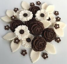 Chocolate Brown & Ivory Roses Flower Bouquet Sugar Decorations Cupcake Toppers