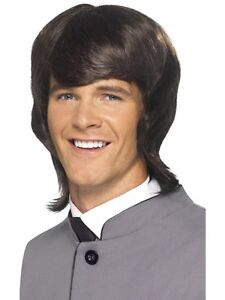 Mens Hippie Wig Shaggy Brown Hair Floppy Hippy Long Mullet MOD Adult 60s NEW