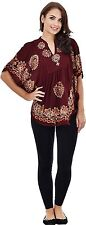 Womens Kimono Sleeve Poncho Dress Summer Casual Wear Brown Short Top Blouse