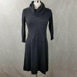 AB Studio Sweater Dress size Medium Stretch Career midi Cowl Neck gray knit