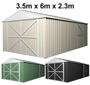 Garden Garage Storage Shed Colorbond Steel Gable Workshop Vehicle Shelter 3.5x6m